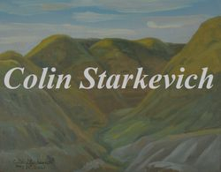 """Setting Sun on Coulees (5 by 7"""" oil on canvas)"""