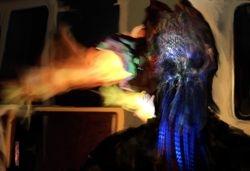 Doof warrior prop mask fire test