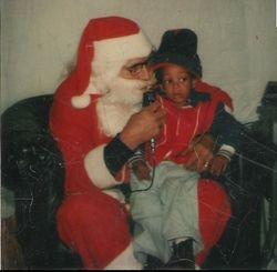 Santa whispering to me.