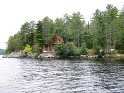 Cabin sits on a point