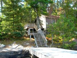 Stairs leading to Norway cabin and deck
