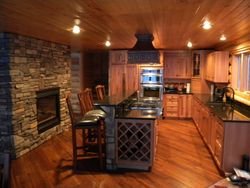 Granite countertops and fireplace