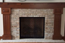 Family room fireplace, quartersawn white oak.