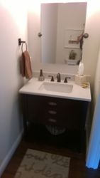 The powder room vanity.