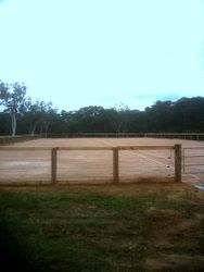 Arena entrance completed with fence and top rail with three electirc fence wires and sand boards on bottom