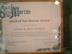 Spirit of San Marcos Award to the Armsteads