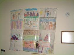 Elementary school children draw Eddie Durham Park