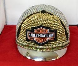 Gold Front Rhinestones Harley Emblem