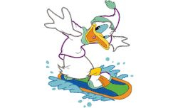 Donald op snowboard 198 X 239