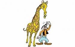 Goofy met giraffe 77 x 129
