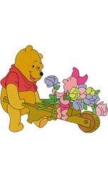 Pooh met bloemenkar 129 X 160