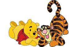 Pooh en tijger op hun buik 100 X 78