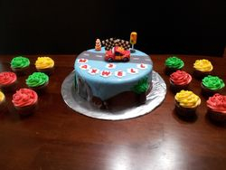 Lightning McQueen Cake and Stoplight Cupcakes