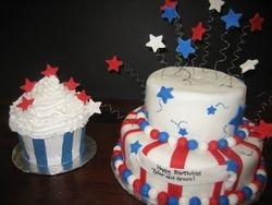 Red, White and Blue Birthday Cake