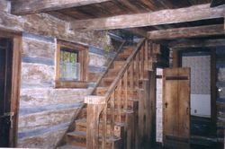 The stairs inside the cabin