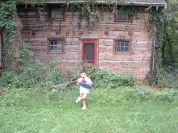 The front of the cabin with vines removed