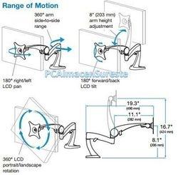 Movimiento de soportes ergotron giratorio, inclinacion, ajuste, ajustables,articulados