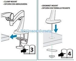 Ilustracion de las opciones de agarre que incluyen los soportes ergotron prensa, tornillo