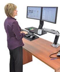 Soporte de escritorio doble con elevacion y ajuste, bandeja para teclado mouse mesa