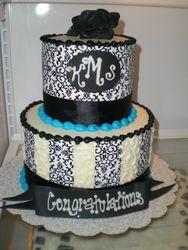 Black Damask Shower Cake