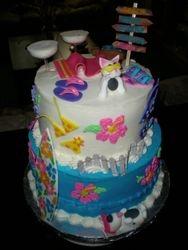 A beach cake for an animal rescuer