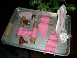 Fondant critters, fondant bow & gumpaste shoe