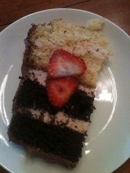 Neopolitan cake (chocolate fudge & vanilla cake with strawberry cheesecake filling, chocolate cream cheese buttercream & fresh berries)