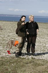 Sigrid and Tiina by the sea