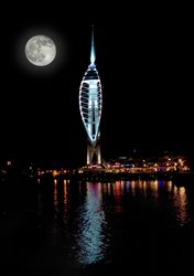 Full Moon behind the Spinnaker tower