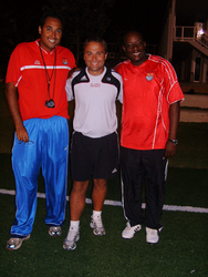 With Thiago Cunha (Women's Technical Director) and Bobby McLaren (Women's National Team Coach) Cayman Islands Football Association
