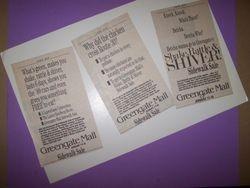 Greengate Mall Newspaper Advertisements