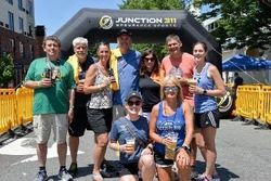 Volunteers at a water station for Craft Half 2021