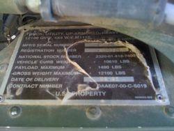 M1116 Data Plate