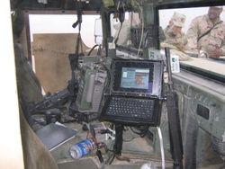 Interior of 2168th guntruck, Iowa ANG, BIAP mission, Camp Navistar Kuwait, 26 FEB 2005