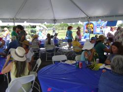 Donated dining tent was the center of attention.