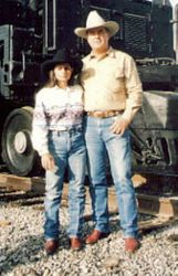 Dad and Mom by Steam Engine UP 3985