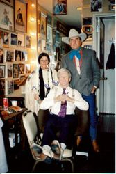Backstage at the Opry in Roy Acuff's dressing room with my wife Star and me.