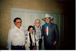 Backstage at the Opry with Grand Pa Jones my wife Star and George Mc Corrmick who played with Grand  Pa.