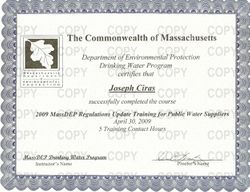 MassDEP Regulations Update Training for Public Water Suppliers