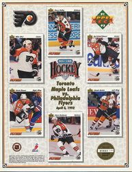 1991-92 Flyers UD Line-Up Sheet v. Toronto