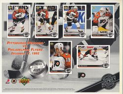 1992-93 Flyers UD Line-Up Sheet v. Pittsburgh