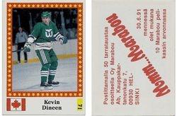 """1991-92 Semic World Championship Stickers Finnish (""""Marabou"""" back) #71"""
