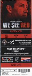 Florida Panthers Ticket Stub Sept 24, 2011