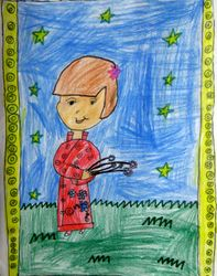 """Amy Simon, age 7, """"Girl in Chinese Dress"""""""