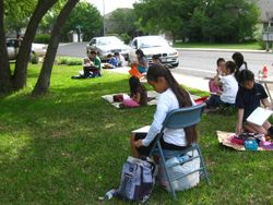 The students picked their own spots to draw from.