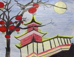 "Jenny Wang, age 11, ""Pagoda and Lanterns"""