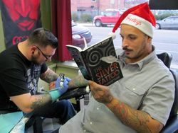 Even Santa is reading The Silver Tattoo
