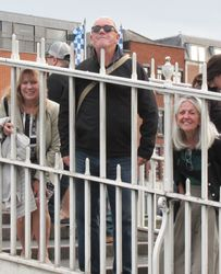 Laura, Theo Dorgan, and Paula Meehan on The Ha'penny Bridge