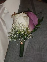 Lavander Calla Lily & Ivory Rose Boutonniere