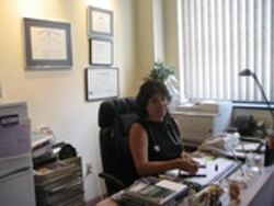Dr. Stachtiaris at her desk